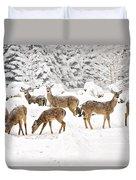 Deer In The Snow Duvet Cover