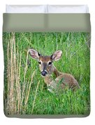 Deer Laying In Grass Duvet Cover