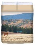 Deer Poses In The Fall Duvet Cover