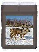 Deers Running On Snow Duvet Cover