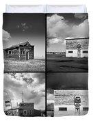 Defunct Country Taverns On North Dakota Prairie Composite Square Duvet Cover