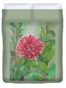 Dahlia Flower Grown In Apartment Garden Duvet Cover