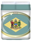 Delaware State Flag Oval Button Duvet Cover