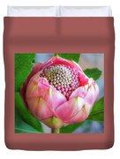 Delicate Pink Bud Waratah Flower Duvet Cover