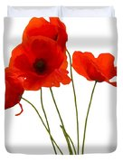 Delicate Red Poppies Vector Duvet Cover