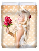 Delicate Young Woman Holding Flower Bunch Duvet Cover