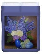Delphiniums In Blue Vase Duvet Cover