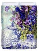 Delphiniums With Antique Blue Pots Duvet Cover
