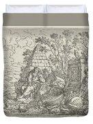 Democritus Mediterend, Jonas Umbach, 1634 - 1693 Duvet Cover