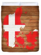 Denmark Rustic Map On Wood Duvet Cover
