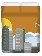 Denver Colorado Horizontal Skyline Print Duvet Cover