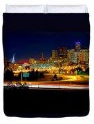 Denver Night Skyline Duvet Cover