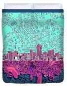 Denver Skyline Abstract 7 Duvet Cover