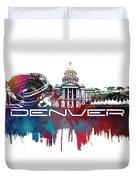 Denver Skyline City Blue Duvet Cover