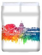 Denver Skyline City Color Duvet Cover