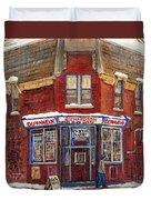 Depanneur De Montreal Pointe St Charles Best Original Montreal Paintings On Sale Peintures A Vendre  Duvet Cover