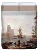 Departure Of Ulysses From The Land Of The Feaci  Duvet Cover