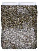 Derek Jeter Baseballs Mosaic Duvet Cover by Paul Van Scott