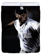 Derek Jeter Duvet Cover by Paul Ward