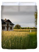 Derelict Disused House In Field Duvet Cover