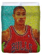 Derrick Rose Skittles Mosaic Duvet Cover by Paul Van Scott