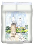 Desenzenzo Lighthouse And Marina In Italy Duvet Cover