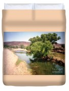 Desert Pond And Dry Mountains Duvet Cover
