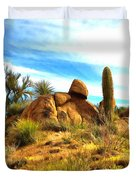 Desert Scene Near Sedona Arizona Painting Duvet Cover