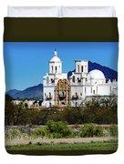 Desert View - San Xavier Mission - Tucson Arizona Duvet Cover