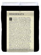 Desiderata Poem On Parchment Duvet Cover