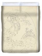 Design For A Ceiling Painting With A Triumph Of Minerva, In Oval, Dionys Van Nijmegen Possibly, 17 Duvet Cover