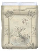 Design For A Ceiling Painting With Allegory Of Peace, Dionys Van Nijmegen, 1715 - 1798 Duvet Cover