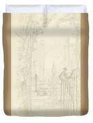 Design For A Garden View With A Peacock On A Fence, Dionys Van Nijmegen Possibly, 1715 - 1798 Duvet Cover