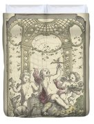 Design For A Gazebo Of Green Trellis, In Which Three Putti Play With Animals, Daniel Marot II, 170 Duvet Cover