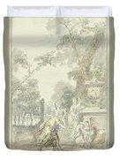 Design For A Room Piece Dorinda Returns Silvio His Dog, Dionys Van Nijmegen, 1715 - 1798 Duvet Cover