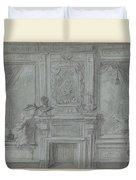 Design For A Room Wall With A Chimney Piece And Paintings, Cornelis Troost, 1720 - 1750 Duvet Cover