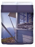 Desolation Peak Fire Lookout Cabin Sign Duvet Cover