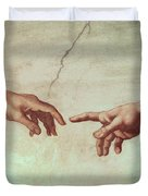 Detail From The Creation Of Adam Duvet Cover by Michelangelo