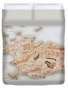 Detail Of A Map Of Rhode Island During French Occupation Duvet Cover