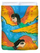 Detail Of Bird People Little Green Bee Eaters Of Upper Egypt 1 Duvet Cover