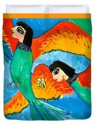 Detail Of Bird People Little Green Bee Eaters Of Upper Egypt 2 Duvet Cover