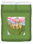 Detail Of Bird People The Chaffinch Family Nest Duvet Cover