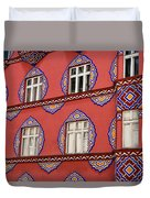 Detail Of Bright Facade Of The Cooperative Business Bank Buildin Duvet Cover