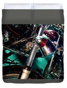 Detail Of Chrome Headlamp On Vintage Style Motorcycle Duvet Cover