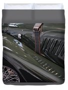 Detail Of Classical Green Vintage Car Hood. Duvet Cover