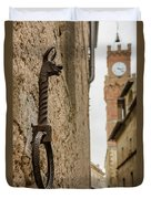 Detail Of Iron On A Wall Of Pienza, Tuscany, Italy Duvet Cover