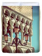 Detail Of Lamp And Columns In Venice. Vertically.  Duvet Cover