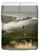 Detail Of Rolling Fog At Sunrise In The Skofjelosko Hribovje Hil Duvet Cover