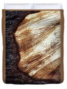 Detail Of Sawing Wood With Bark Duvet Cover