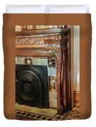 Detail Of Wood Carving And Tiles - Historic Fireplace Duvet Cover